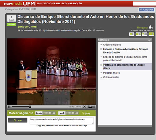 Discurso de Enrique Ghersi durante el Acto en Honor de los Graduandos Distinguidos (Noviembre 2011)
